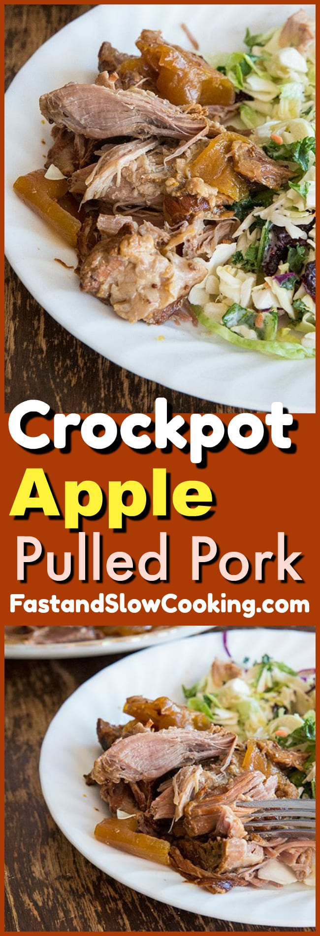 This Crockpot Apple Pulled Pork is a surprisingly delicious slow cooker meal! If you love applesauce with pork you are going to love this recipe!  #crockpot #slowcooker #pork #pulledpork #apples #recipe
