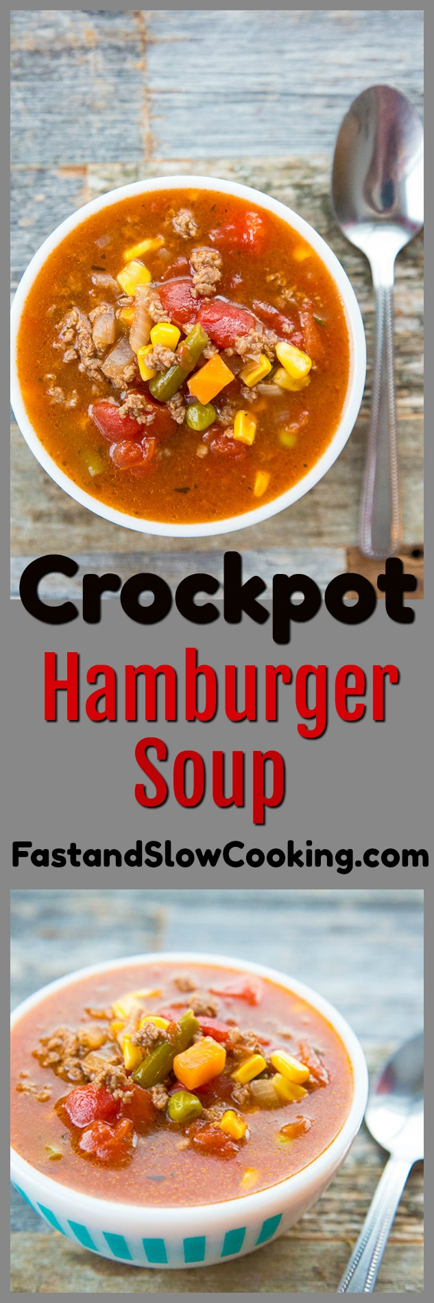 Crockpot hamburger soup. This soup is made at least once a week in our house, it's easy and so delicious! #crockpot #slowcooker #hamburger #soup #recipe #dinner #supper