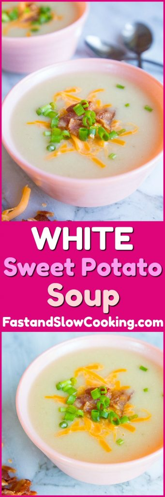 Creamy White Sweet Potato Soup, the best white sweet potato recipe! Make it in the crockpot! #slowcooker #soup #recipe #potato #sweetpotato #dinner #supper