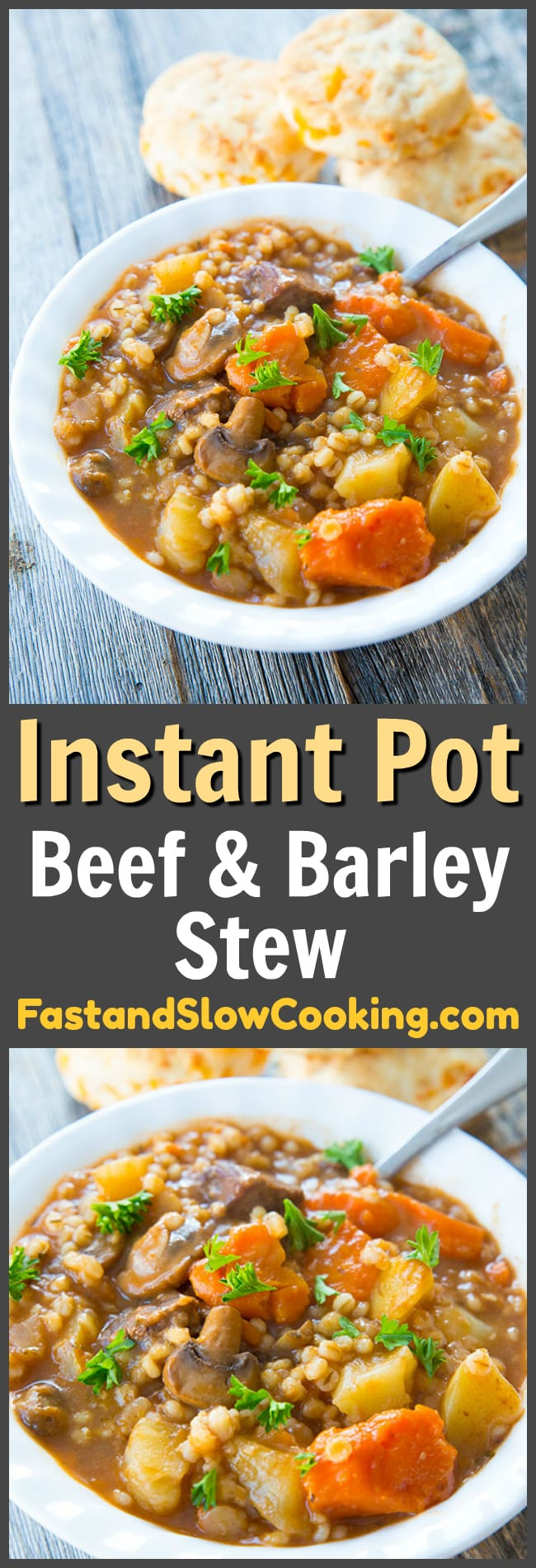 This Instant Pot Beef and Barley stew is the perfect comfort food! Thanks to pressure cooking, the barley cooks up faster - meaning you get dinner on the table in no time at all! #instantpot #stew #soup #pressurecooker #pressurecooking #recipe