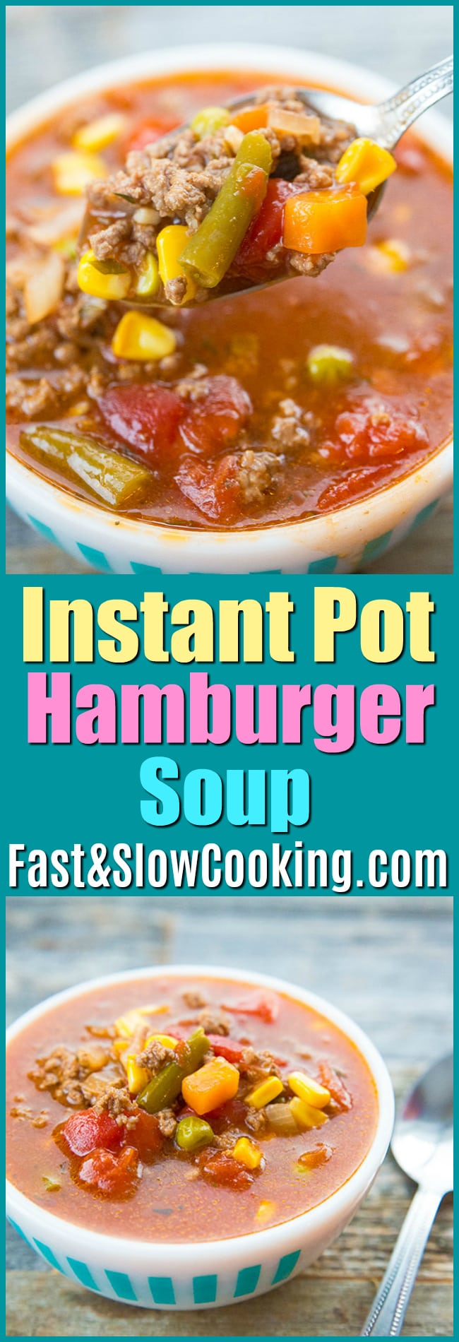 This Instant Pot Hamburger Soup is a super fast way to make the classic soup! You usually make it on the stove top or in the crockpot but thanks to the invention of the Instant Pot you can use your favourite pressure cooker to whip it up fast! #instantpot #soup #recipe