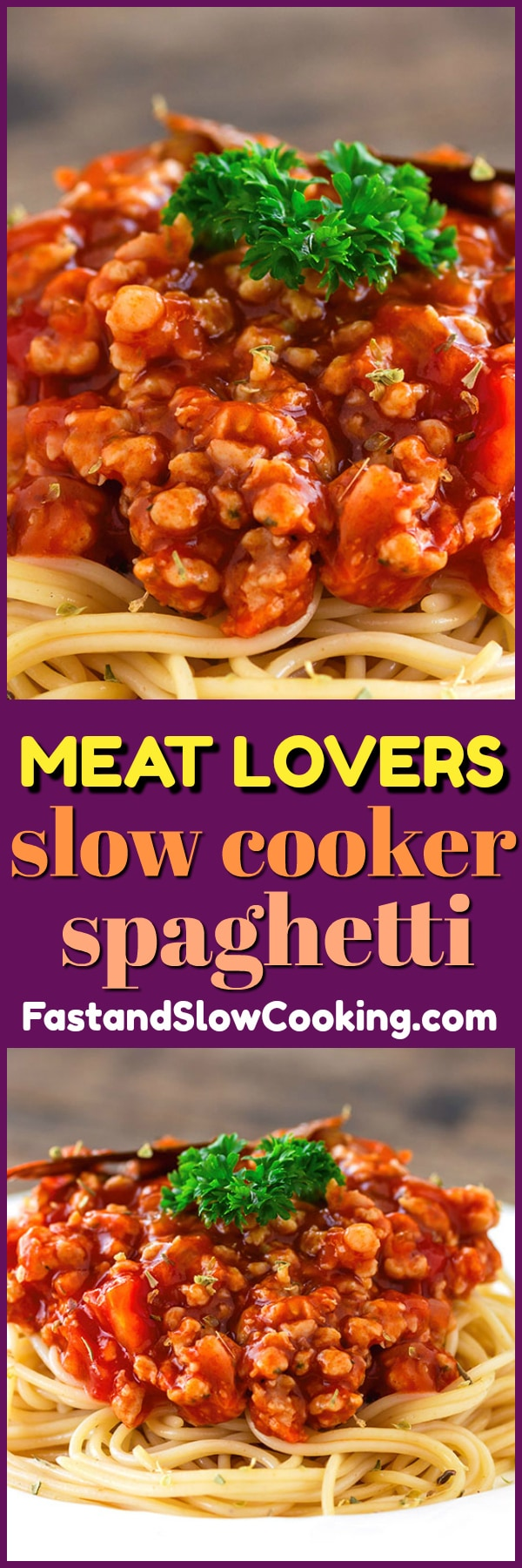 Raise your hand if you are the type of person that loves the Meat Lover's pizza, or Meat Lover's Breakfast Skillet. Did you raise your hand? Then this slow cooker spaghetti sauce is for YOU! #slowcooker #crockpot #spaghetti #sauce #recipe