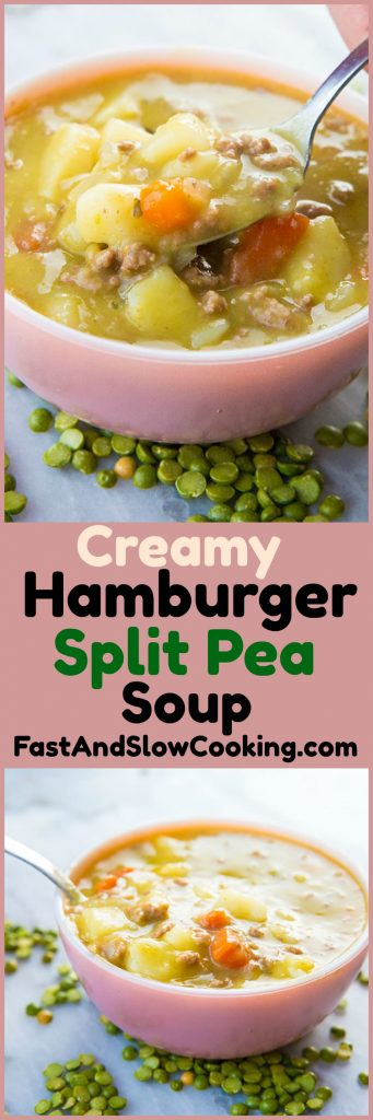 Will you trust me that my new Slow Cooker Split Pea Hamburger Soup is absolutely amazing? I was inspired to make split pea soup in the slow cooker and had ground beef to use up. The result? A new slow cooker soup favourite! #soup #crockpot #slowcooker #hamburger #splitpea