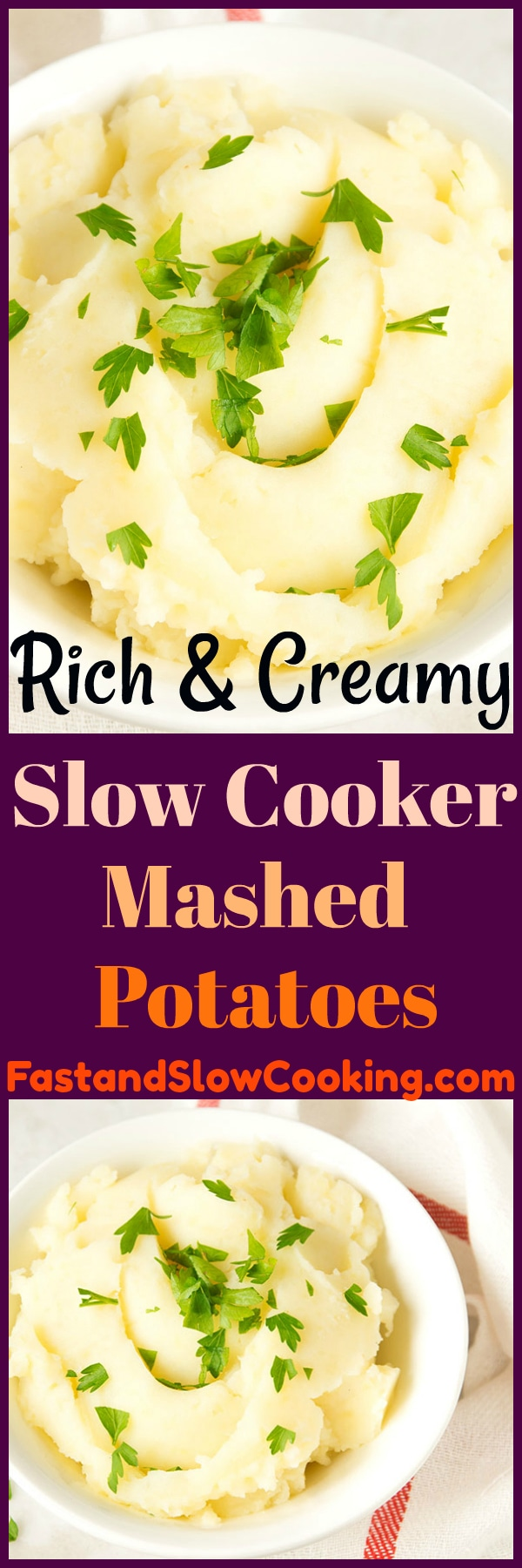 Sour cream and cream cheese truly make these the best Rich & Creamy Slow Cooker Mashed Potatoes you will ever make! Perfect for your holiday dinner! #slowcooker #mashedpotatoes #crockpot #recipe