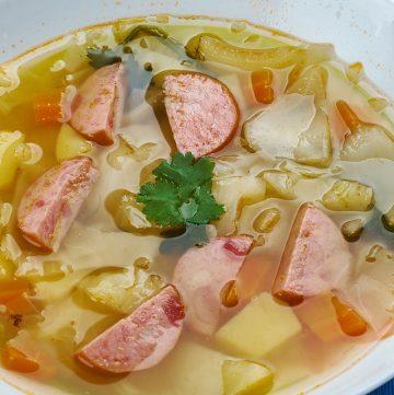 Crockpot Polish Sausage, Cabbage and Potato Soup