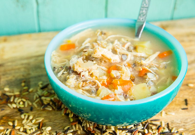 This Instant Pot Chicken & Wild Rice Soup is a simple , non-dairy chicken broth based soup that is loaded with wild rice and vegetable goodness