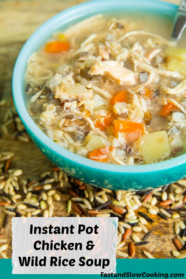 This Instant Pot Chicken & Wild Rice Soup is a simple , non-dairy chicken broth based soup that is loaded with wild rice and vegetable goodness. #soup #instantpot #pressurecooking #chicken #chickenandwildricesoup #recipe #dinner #wildrice #rice